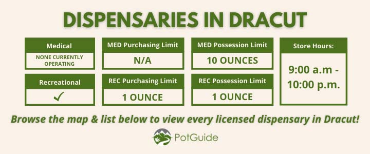 Infographic describing quick facts about marijuana dispensaries in Dracut, Massachusetts. Medical Dispensaries: None currently operating ,Recreational Dispensaries: Operating, see list below , Medical Purchasing Limit: N/a , Recreational Purchasing Limit: One Ounce , Medical Possession Limit: 10 Ounces , Recreational Possession Limit: One Ounce , Store Hours: 9:00 a.m. to 10:00 p.m. , Browse the map below to view every licensed dispensary in Becket