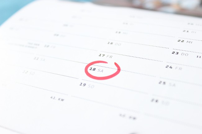 Calendar with day marked