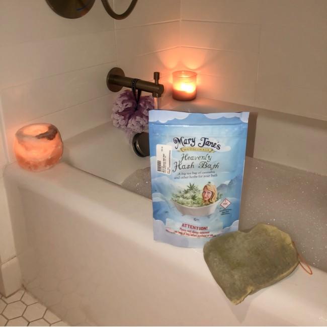 A bubble bath and Mary Medicinal's heavinly hash bath product