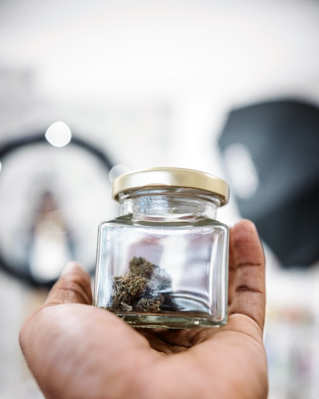 Cannabis in a jar