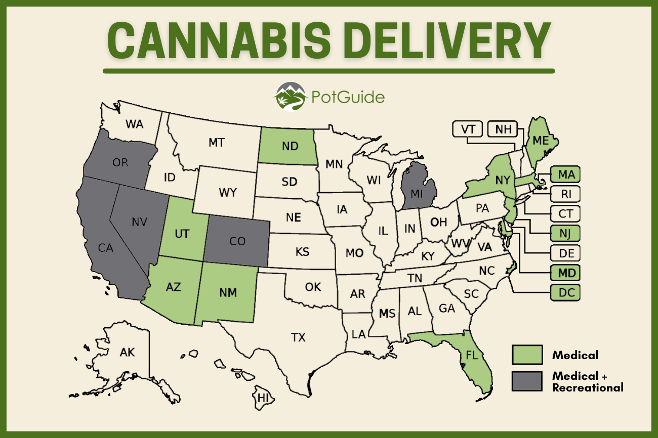 A map showing which states have medical cannabis delivery and which states have medical and recreational marijuana delivery