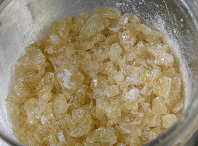THCA isolate crystals extracted via mechanical separation.