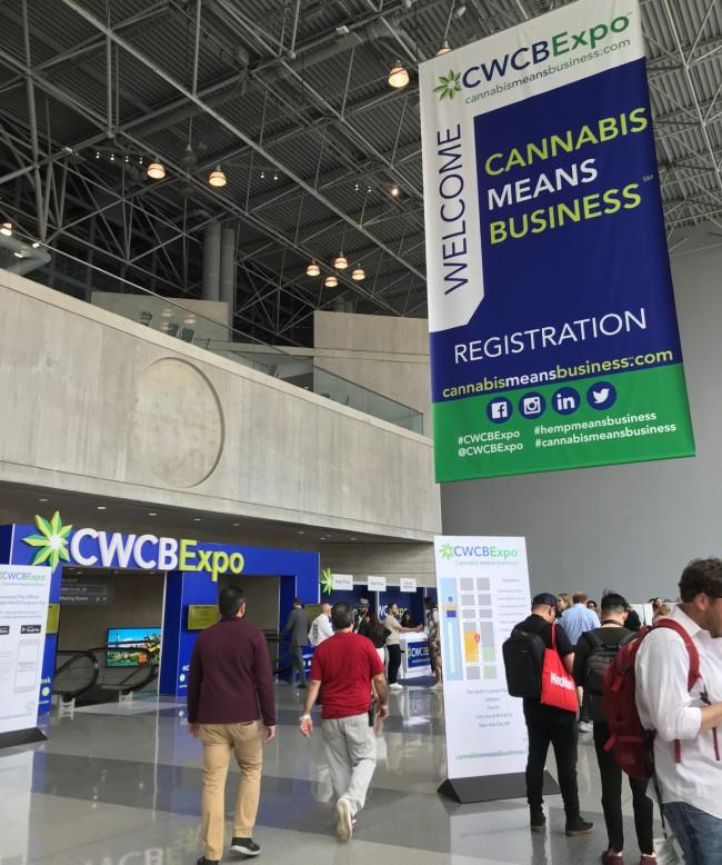 A bustling cannabis convention