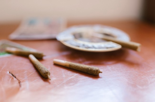 a couple of joints near an ash tray