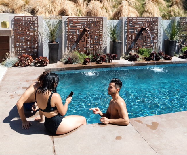 People hanging out in pool
