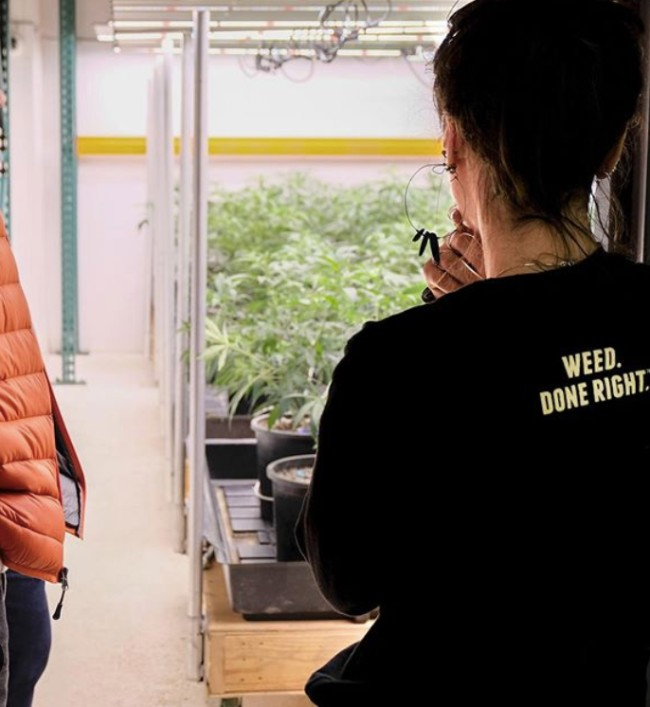 Eco Firma grow room with a girl wearing a shirt that says weed done right